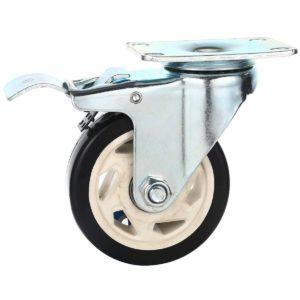 4 inch Black PU Rim Swivel Caster With Brake