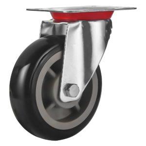 6 inch Black PU Swivel Caster No Brake