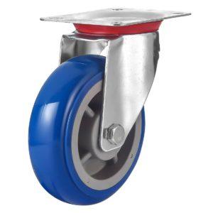 6 inch Blue PU Swivel Caster No Brake