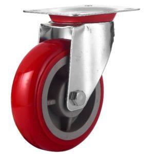 6 inch Red PU Swivel Caster No Brake