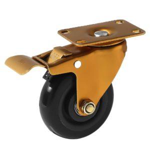 4 inch Antique Copper Black PU Swivel Caster With Brake