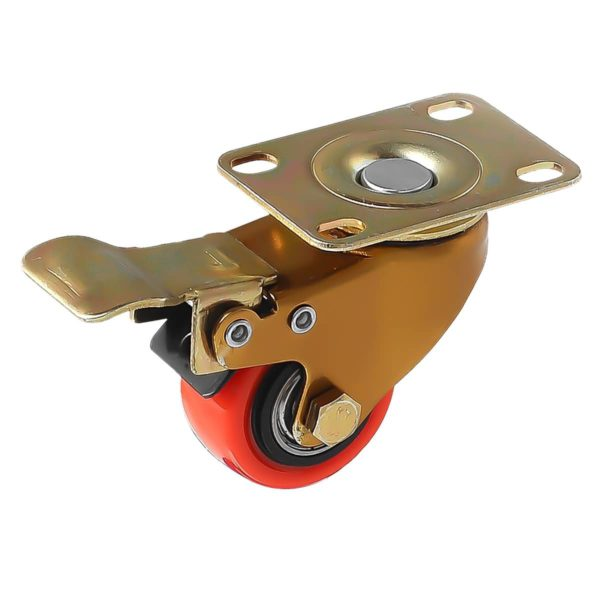 1.5 inch Antique Copper Red PU Swivel Caster With Brake