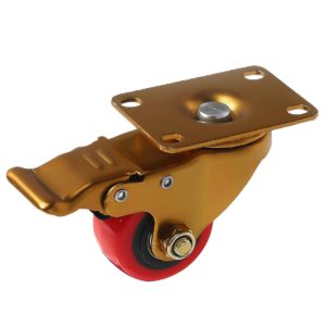 2.5 inch Antique Copper Red PU Swivel Caster With Brake