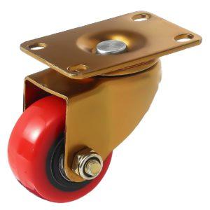 2.5 inch Antique Copper Red PU Swivel Caster No Brake