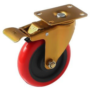 5 inch Antique Copper Red PU Swivel Caster With Brake