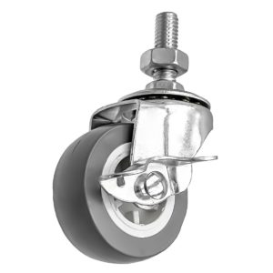 2 Inch Grey Hard PU 1.2″ Tall Threaded Stem Swivel Caster With Side Brake