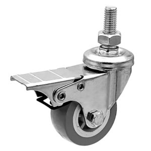 2 Inch Grey Hard PU 1.2″ Tall Threaded Stem Swivel Caster With Front Brake