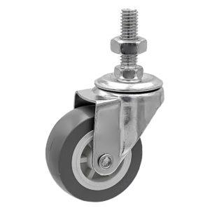 2 Inch Grey Hard PU 1.2″ Tall Threaded Stem Swivel Caster No Brake