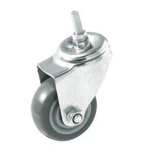 3 Inch Grey Hard PU 1.2″ Tall Threaded Stem Swivel Caster No Brake