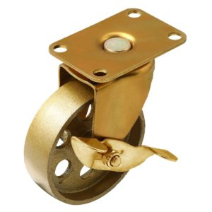 3.5 Inch All Gold Metal Swivel Wheel With Brake