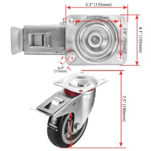 6 inch Black PU Swivel Caster With Brake