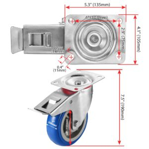 6 inch Blue PU Swivel Caster With Brake