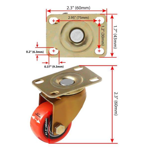 1.5 inch Antique Copper Red PU Swivel Caster No Brake