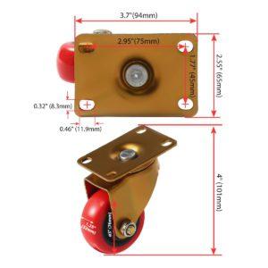 3 inch Antique Copper Red PU Swivel Caster No Brake