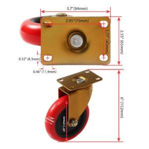 5 inch Antique Copper Red PU Swivel Caster No Brake