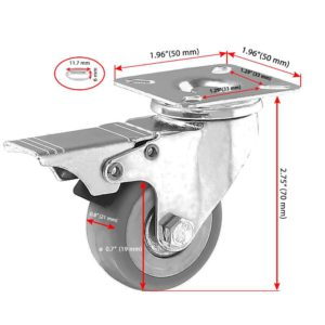 2 inch Grey PU Swivel Caster With Brake