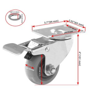 3 inch Grey PU Swivel Caster With Brake