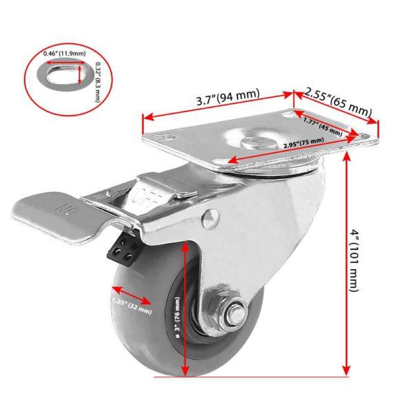 3 inch Grey PU Swivel Caster With Brake