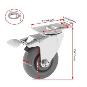 4 inch Grey PU Swivel Caster With Brake