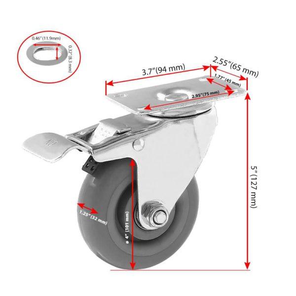 4 inch Grey PU Swivel Caster With Brake