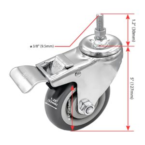 4 Inch Grey Hard PU 1.2″ Tall Threaded Stem Swivel Caster With Brake
