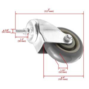 4 Inch Grey Hard PU 1.2″ Tall Threaded Stem Swivel Caster No Brake