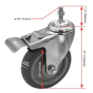 5 Inch Grey Hard PU 1.2″ Tall Threaded Stem Swivel Caster With Brake