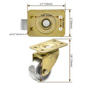 2 Inch All Gold Metal Swivel Wheel No Brake