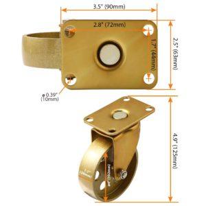 4 Inch All Gold Metal Swivel Wheel No Brake