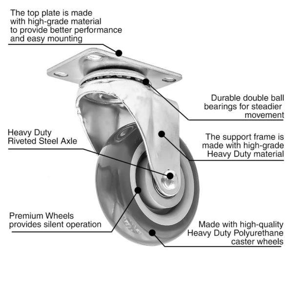 3 inch Grey PU Swivel Caster No Brake