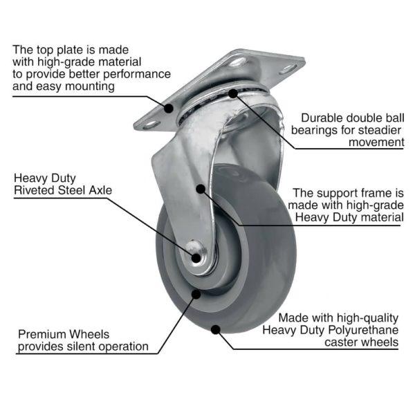 4 inch Grey PU Swivel Caster No Brake