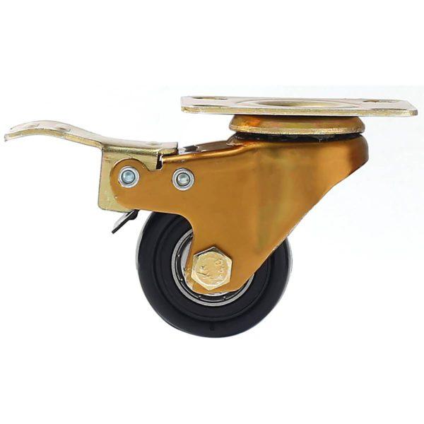 1.5 inch Antique Copper Black PU Swivel Caster With Brake