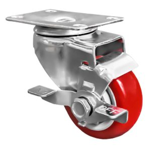 3 inch Red PU Swivel Caster With Side Brake