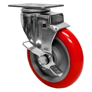 5 inch Red PU Swivel Caster With Side Brake