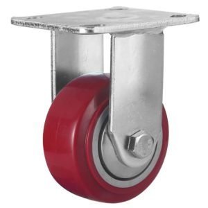 4 inch Maroon Solid PU Swivel Caster Wheel Rigid