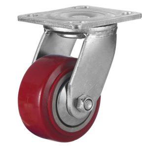 4 inch Maroon Solid PU Swivel Caster Wheel No Brake