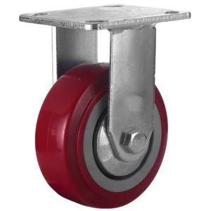 5 inch Maroon Solid PU Swivel Caster Wheel Rigid
