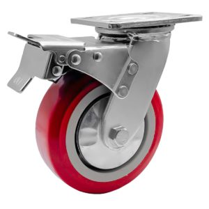 6 inch Maroon Solid PU Swivel Caster Wheel With Brake