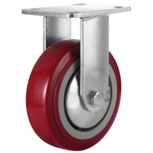 6 inch Maroon Solid PU Swivel Caster Wheel Rigid