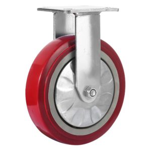 8 inch Maroon Solid PU Swivel Caster Wheel Rigid