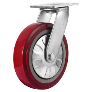 8 inch Maroon Solid PU Swivel Caster Wheel No Brake