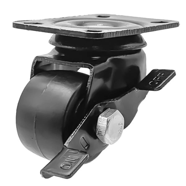 1.5 inch Black Solid PU Swivel Caster Wheel With Brake
