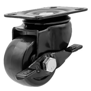 2 inch Black Solid PU Swivel Caster Wheel With Brake