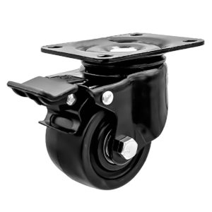 2.5 inch Black Solid PU Swivel Caster Wheel With Brake