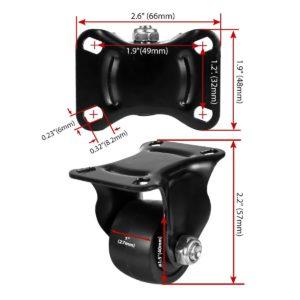 1.5 inch Black Solid PU Swivel Caster Wheel Rigid