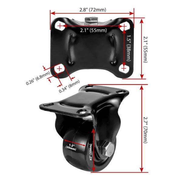 2 inch Black Solid PU Swivel Caster Wheel Rigid