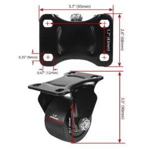 2.5 inch Black Solid PU Swivel Caster Wheel Rigid
