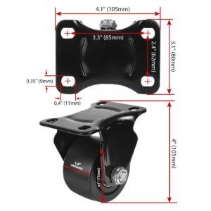 3 inch Black Solid PU Swivel Caster Wheel Rigid