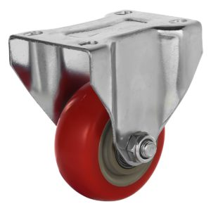 3 inch Red PU Non Swivel Fixed Rigid Caster