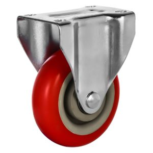 4 inch Red PU Non Swivel Fixed Rigid Caster